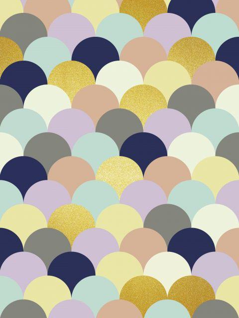 Poster Circulos coloridos dourados III
