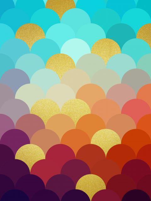 Poster Circulos coloridos dourados V