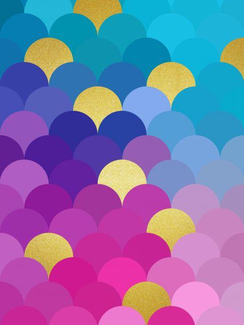 Poster Circulos coloridos dourados VI