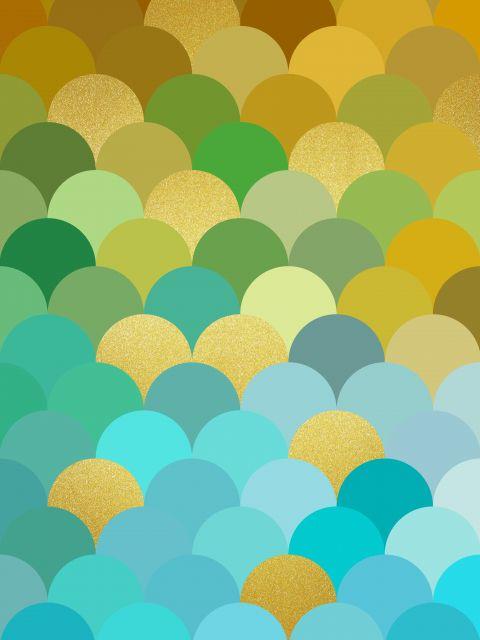 Poster Circulos coloridos dourados VII