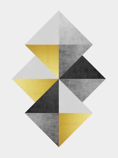 Poster Minimalista cinza e dourado I