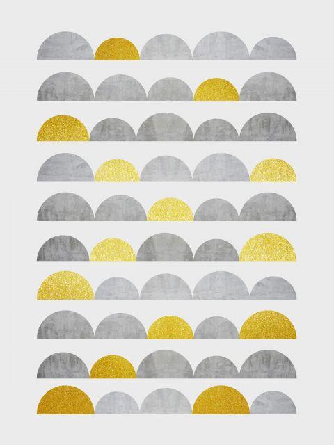 Poster Minimalista cinza e dourado III