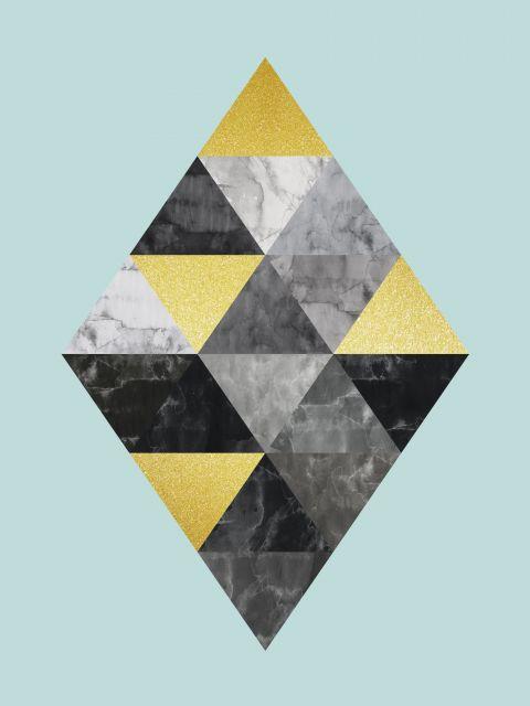 Poster Minimalista cinza e dourado IV