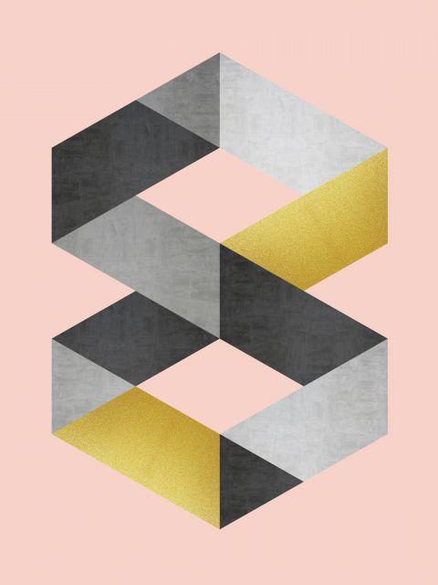 Poster Minimalista cinza e dourado V