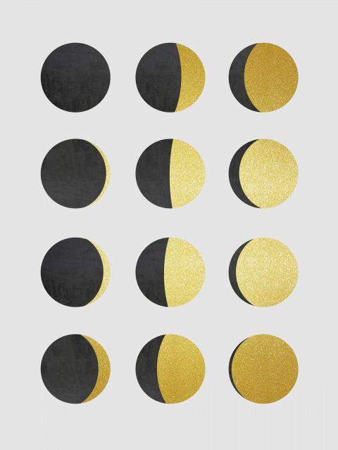 Poster Minimalista cinza e dourado VI