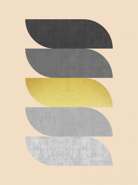 Poster Minimalista cinza e dourado VII