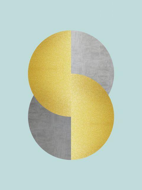 Poster Minimalista cinza e dourado VIII