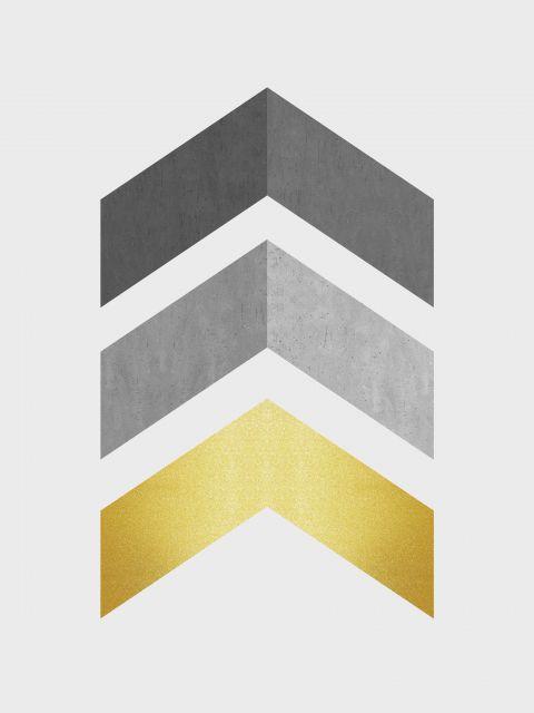 Poster Minimalista cinza e dourado IX