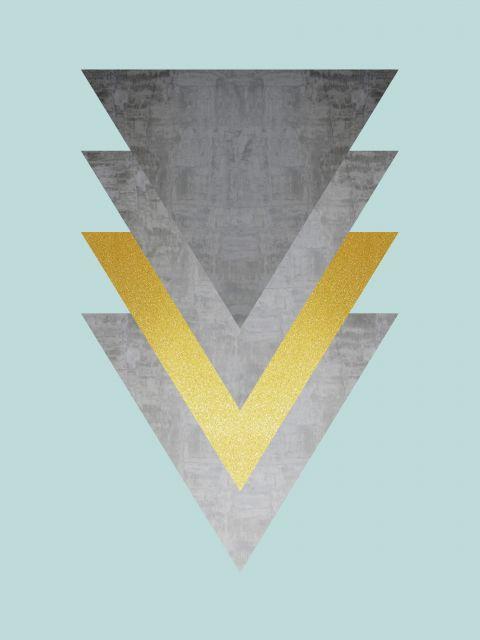 Poster Minimalista cinza e dourado X