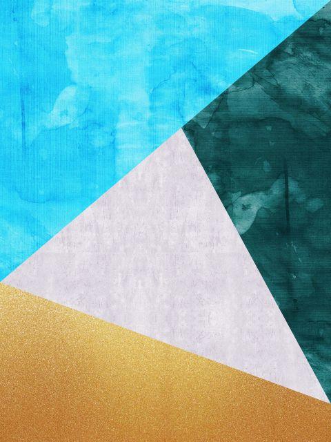 Poster Faixas coloridas e douradas VI