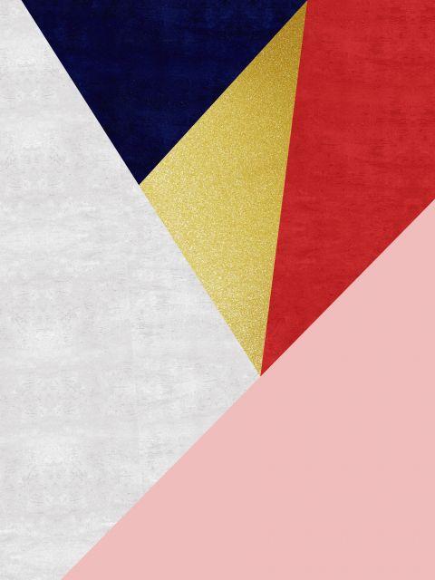 Poster Faixas coloridas e douradas VII
