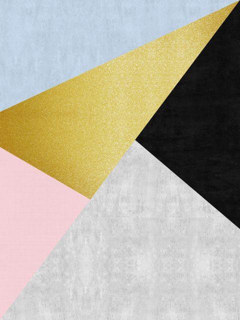 Poster Faixas coloridas e douradas X