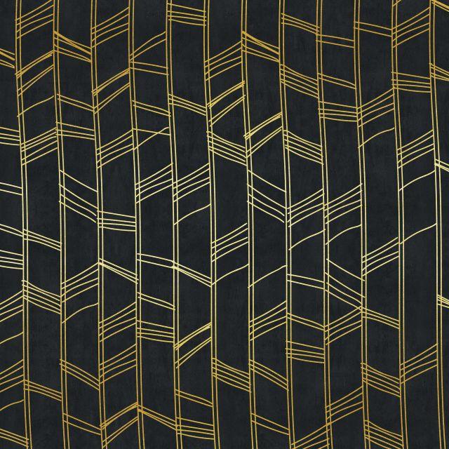 Poster Padrão dourado V   preto dourado