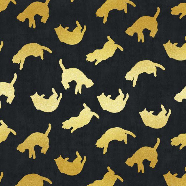 Poster Padrão dourado IX   preto dourado gato gatinho