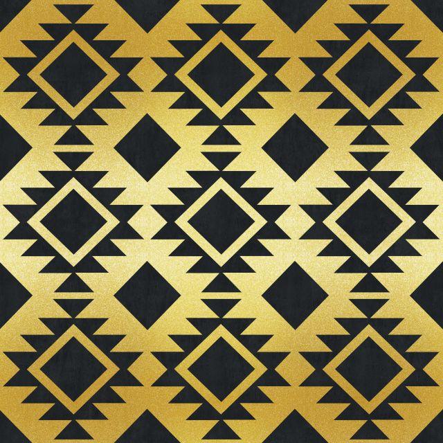 Poster Padrão dourado X   preto dourado