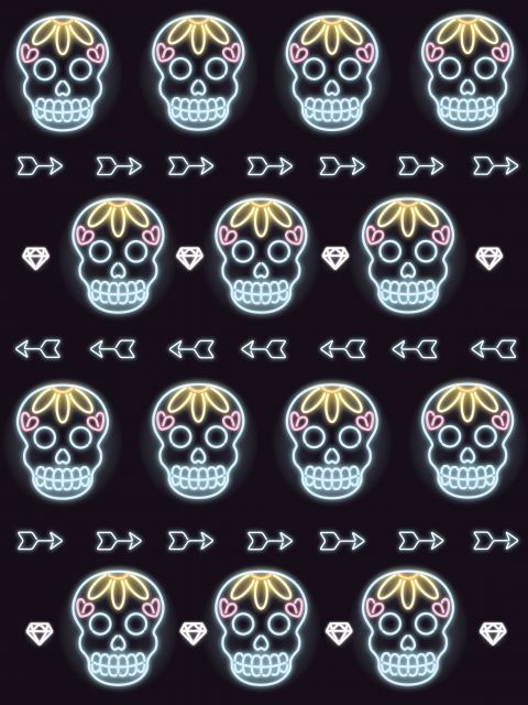 Poster Party Skull   neon
