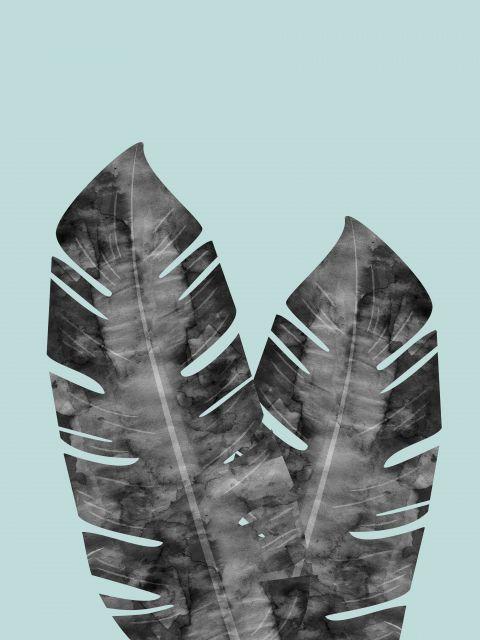 Poster Aquarela Duas Folhas Tropicais