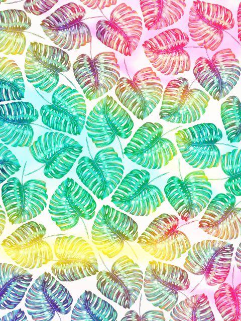 Poster Padrão folhas coloridas