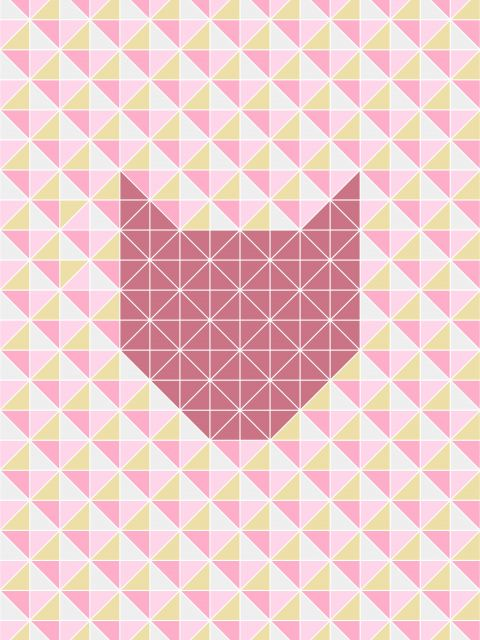 Poster Gato Geométrico Rosa