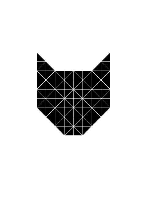 Poster Gato Geométrico Preto