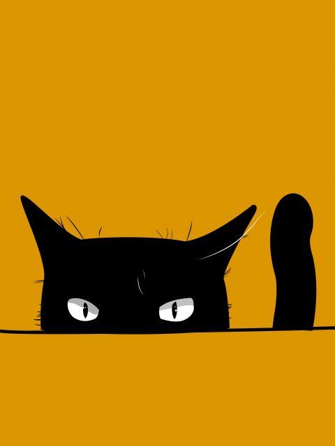 Poster Gato Preto Com Fundo Amarelo