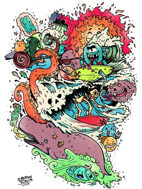 Poster Surf Doodles - 2017 N2