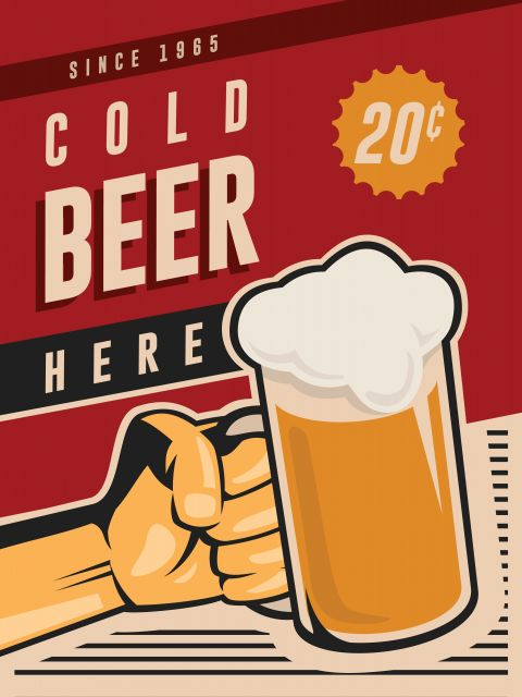 Poster Cold Beer Here