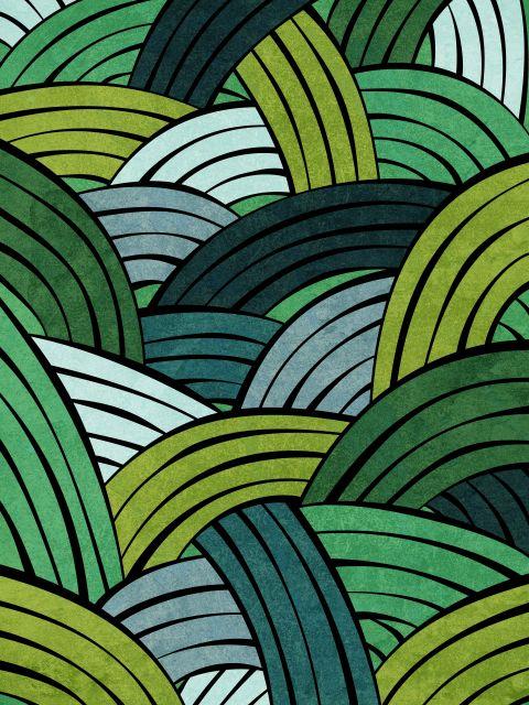 Poster Linhas em Linha - Green