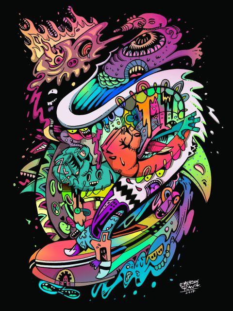 Poster Surf Doodles - 2017 N 10