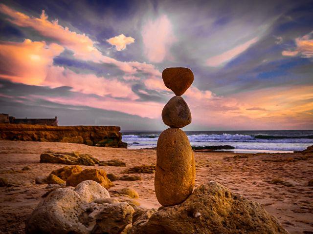 Poster Rock balance   pedra praia