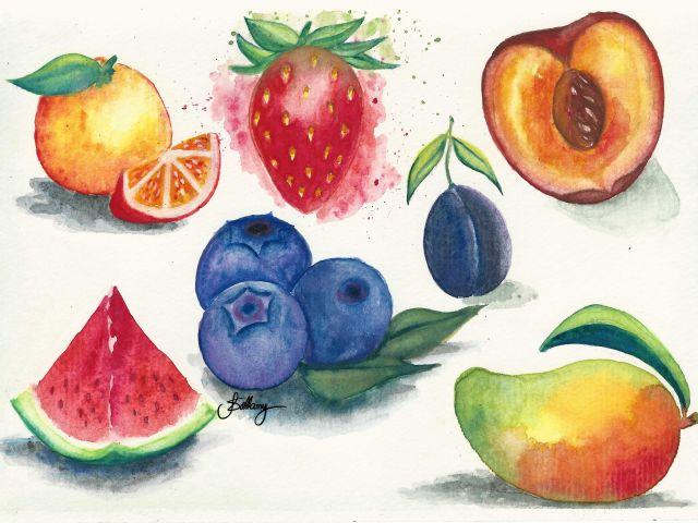 Poster Frutas   pêssego melancia laranja morango manga jabuticaba
