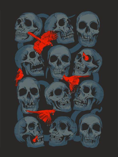 Poster Crânios e Cardeais   preto