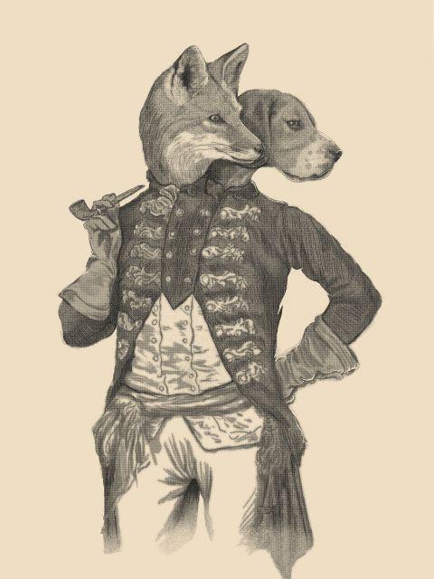 Poster Living Together   raposa cachorro duas cabeças