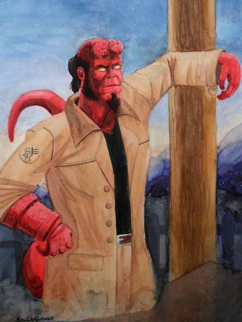 Poster Hellboy Watercolor   Hellboy