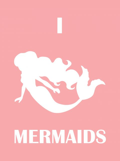 Poster I love Mermaids - Pink