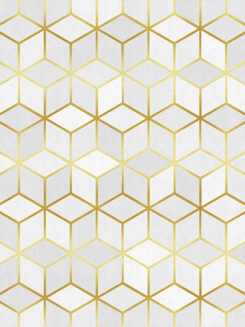 Poster Padrão De Quadrados e Ouro   Branco