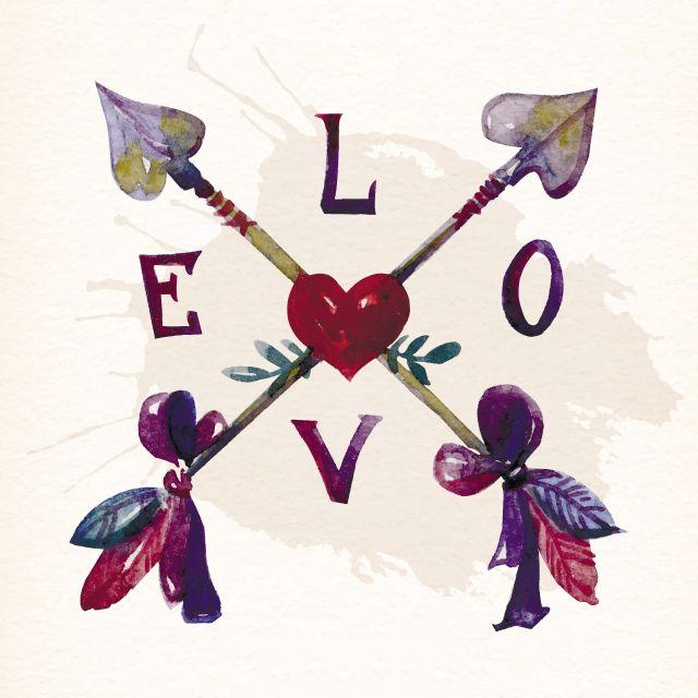 Poster Love coração e setas