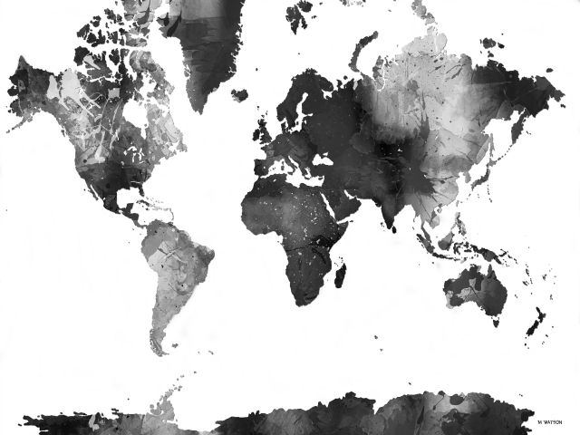 Poster Mapa do mundo P&B