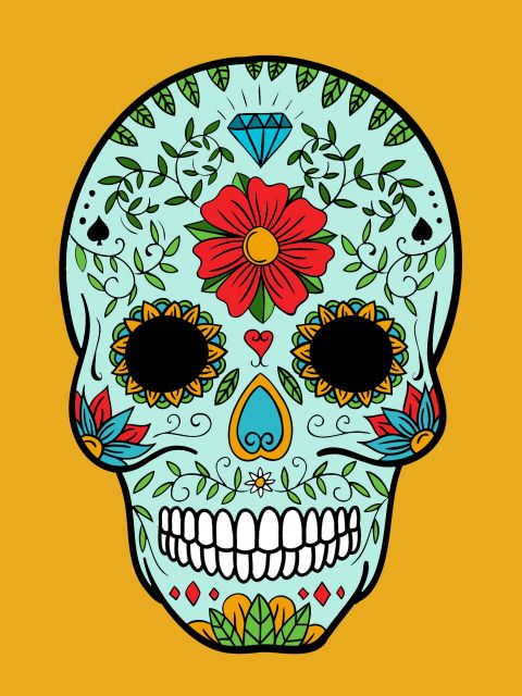 Poster Skull and yellow