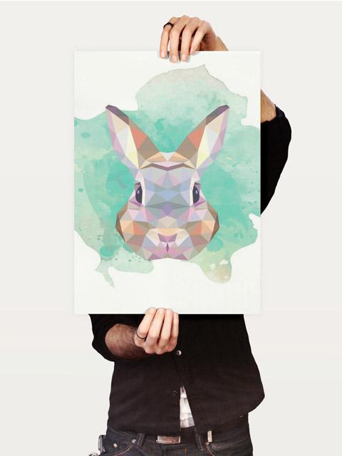 Poster Coelho   bunny geometric bunny