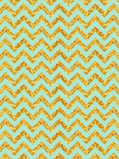 Poster Chevron Azul e Dourado