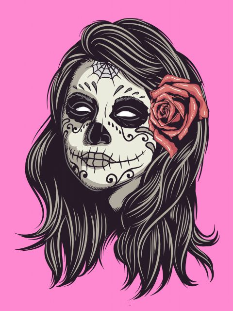 Poster Girl Skull and Rose