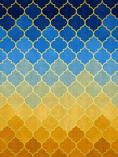 Poster Mosaico dourado azul e amarelo