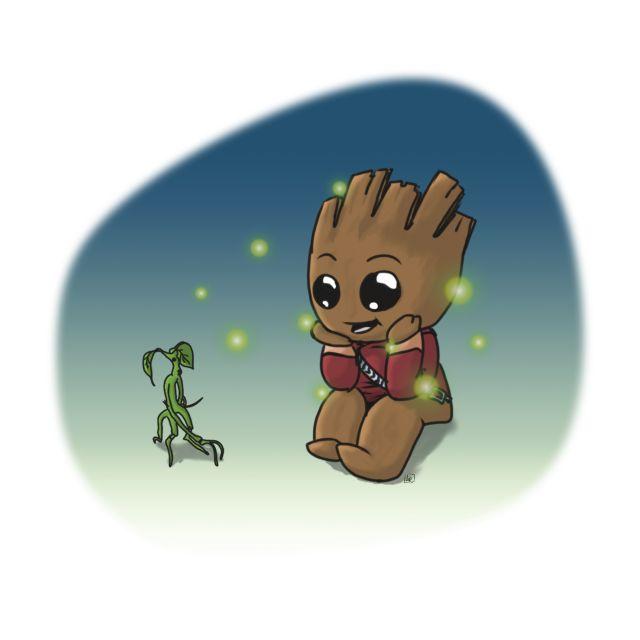 Poster Groot e Tronquilho   guardiões da galáxia