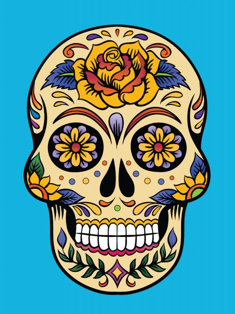 Poster Skull and blue