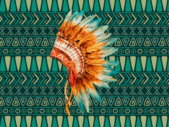 Poster Cocar   índio tribal boêmio bohemian