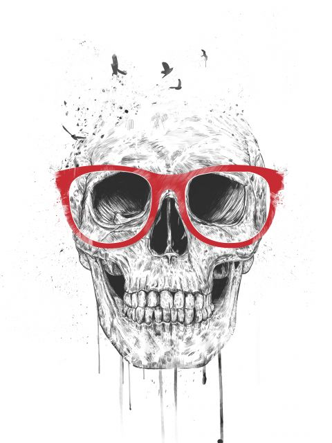 Poster Skull With Red Glasses