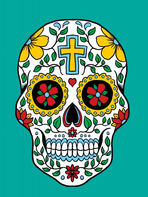 Poster Skull and Turquoise