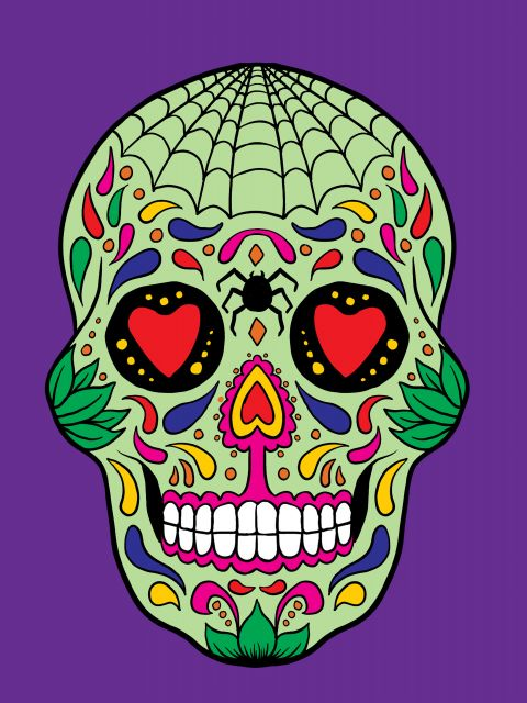 Poster Skull and purple