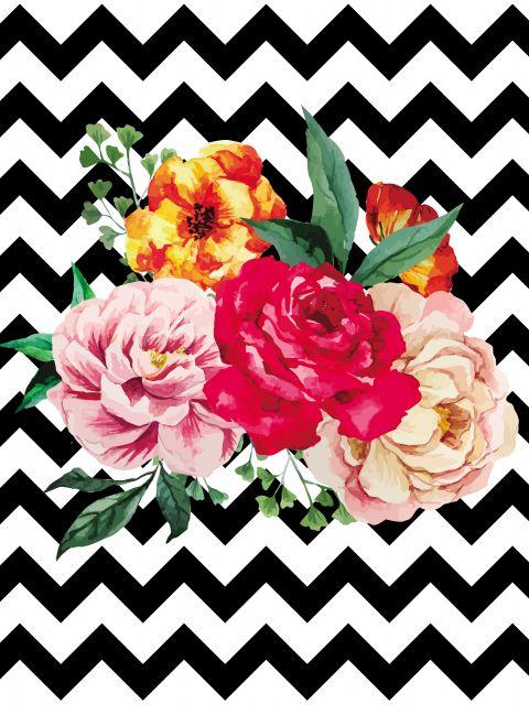 Poster Flores e chevron